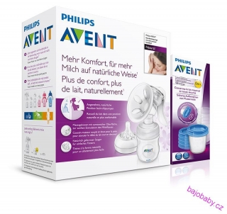 Philips Avent Odsávačka mateř.ml. Natural se zásobníkem 125ml+VIA180ml, 5ks